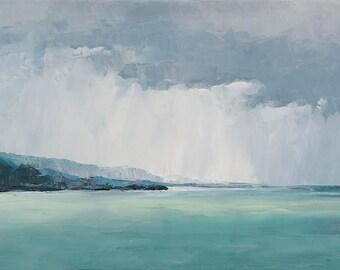 Mountain and Rain- Bear Lake print on canvas 10x20