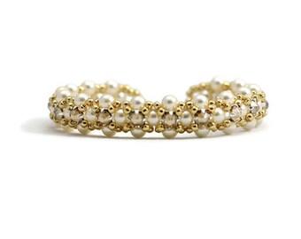 Cream Pearl Bracelet - Crystal Bracelet - Bridal Jewelry - Wedding Bracelet - Beaded Jewelry - Handmade Bracelet - Pearl Jewelry