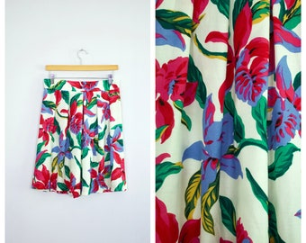 Vintage 1980's Liberty House Young Hawaii Tropical Floral Pleated Shorts L