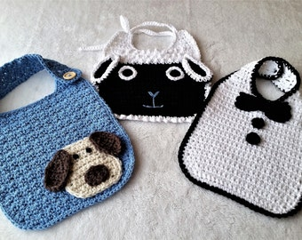 Crochet Bibs, Set of 3  100% Cotton Baby Bibs