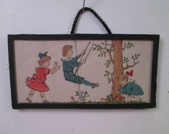 "Antique Dollhouse Lithographed Wall Hanging Picture - 3 1/2"" Long"