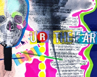 "Original ""UR the fart"" experimental painting and drawing mixed media collage"