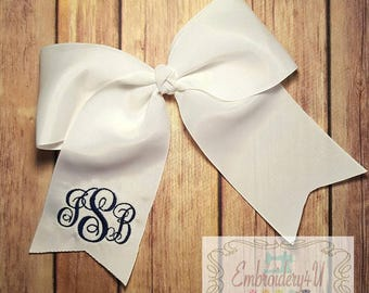 Monogrammed Hairbow Boutique Hairbow Embroidered Initial Hairbow
