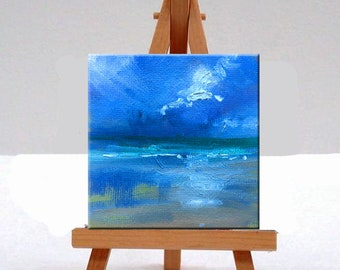 Miniature, Seascape, Oil Painting, Original, Tiny, 3x3 Canvas, Blue Sky, Coast, Nautical, Clouds, Water, Reflection, Square Format
