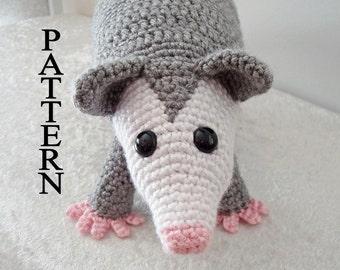 Opossum Crochet Pattern Possum Woodland Amigurumi Animal Digital Download Crochet Pattern Adobe Pdf File