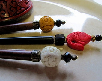 Cinnabar Blossom of the Orient Hair Stick or Shawl Pin...Choice of 5 Colors