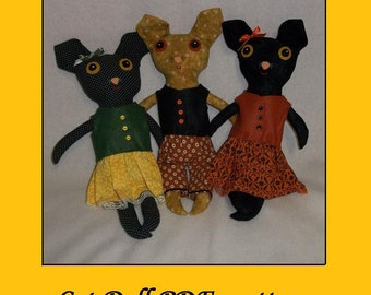 Cat Doll Pattern  - PDF epattern Tutorial
