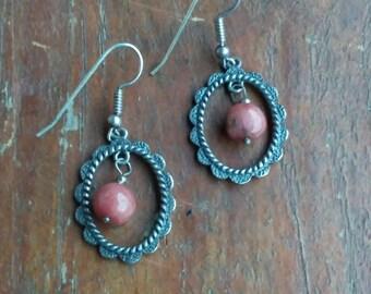 Handcrafted vintage dangle earrings, vintage earrings, vintage jewelry, brown earrings