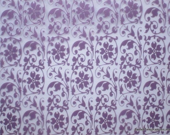 Purple Floral Scroll Chocolate Transfer Sheet