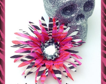 Pink Zebra Print Hair Flower Pinup Flower Rockabilly Flower Floral Headpiece Bridal Flower Hair Clip Rockabilly Wedding Flower Psychobilly