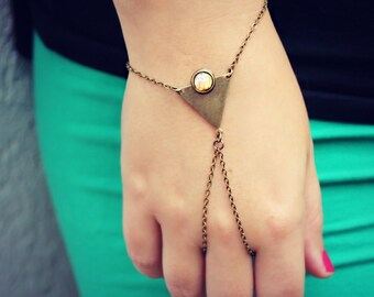 triangle pink opal slave bracelet, geometric bracelet, bracelet ring, ring bracelet, pink opal bracelet