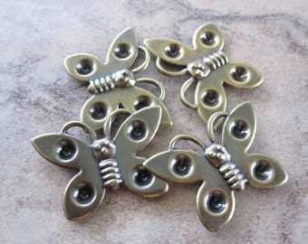 Settings - Lot of 4, Antiqued Gold-plated steel, 25x18mm single-sided butterfly - JD123