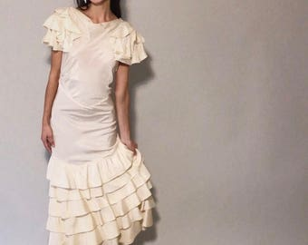 Wintyr Gown | 1930s Vintage Cream Taffeta Low Back Ruffle Tiered Flutter Sleeve Dress | Size XXS/XS