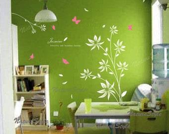 floral wall decals flower vinyl wall decals girl nursery wall decals sticker children wall decal-White Flower with Butterflies