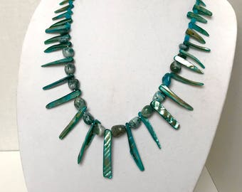 Mother of Pearl and Moss Agate Talon Necklace