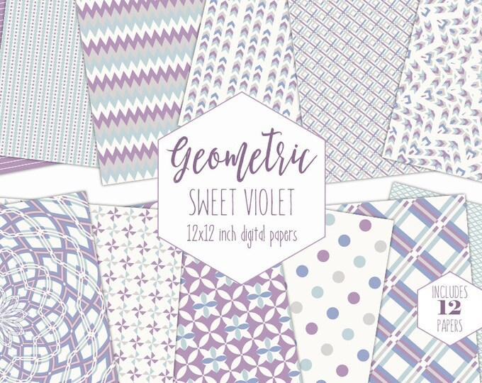 SWEET VIOLET Digital Paper Pack Purple & Mint Backgrounds Mandala Scrapbook Paper Arrow Plaid Pattern Party Printable Commercial Use Clipart