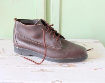 Vintage INDIE Designer Boots...aztec. brown leather. designer vintage. leather boots. ankle boots. mod. brown boots. hipster. new wave