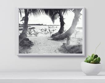 Palm tree wall art, Black and white Art Print, Modern Farmhouse Print, wall art Tropical, Beach Print, gift idea, home decor, printable