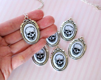 Hand Embroidered Skull Necklace