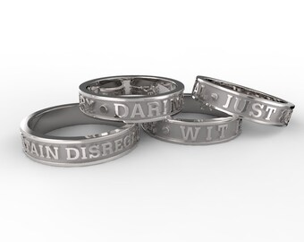 House Signature Motto Rings in 925 Sterling Silver inspired by Harry Potter!
