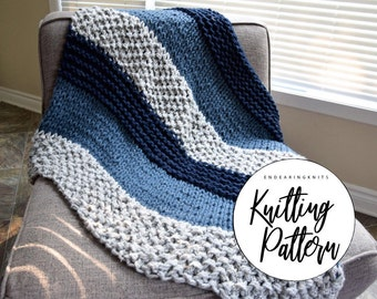 Chunky Blanket Pattern - Knitting Throw Pattern - Extreme Knitting - Knit Blue Gray Blanket - Beginner Knitting Pattern