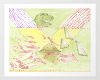Prehistoric Flatworms | Fine Art Giclee Print | Collaborative Drawing by Marie Gardeski and David Birkey