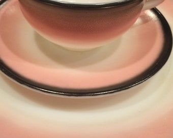 Hazel Atlas Plates and Cups, Informal Pink and Charcoal