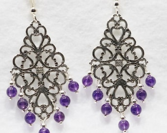 Amethyst chandelier etsy amethyst chandelier earring mozeypictures Gallery