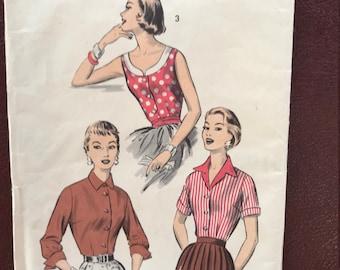 Vintage sewing pattern Advance 8040 3 blouses