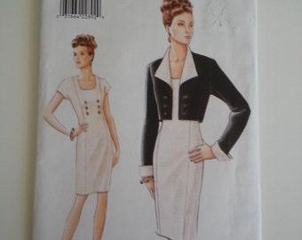 Mother bride outfit /Dress with jacket / 90s dress / short Jacket / 1995 sewing pattern, Bust 30 31 32, Size 6 8 10, Vogue V 9389