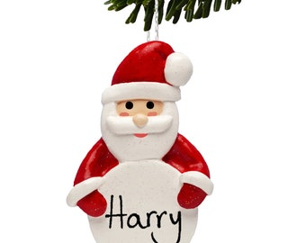 Father Christmas Tree Decorations, Personalised Santa Bauble in Red by Truly for You
