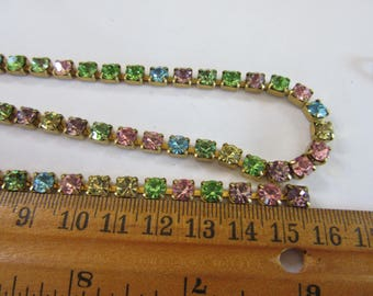 ONE foot of Vintage Swarovski brass Rhinestone  Rhinestones Chain   , A 1735, w 5mm Pinks, yellows, l.sapphireVintage Findings,