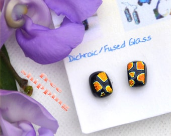 181 Fused dichroic glass earrings, rectangle, stud, orange, gold, square, yellow, black