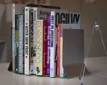 Steel Bookends: Industrial-Modern Bookends Set of 2