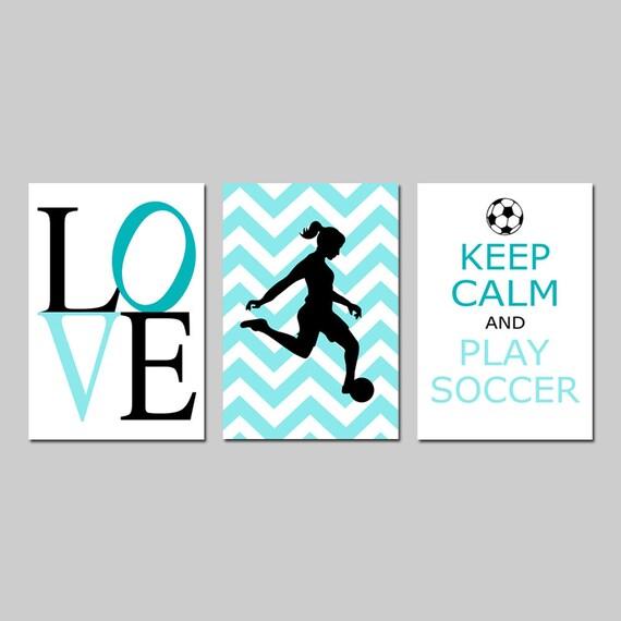 Girls Soccer Decor Girl Soccer Art Bedroom Decor Soccer Wall