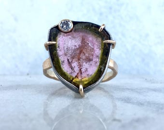 14K Yellow Gold Watermelon Tourmaline and Diamond Ring with Blackened Sterling Silver Frame