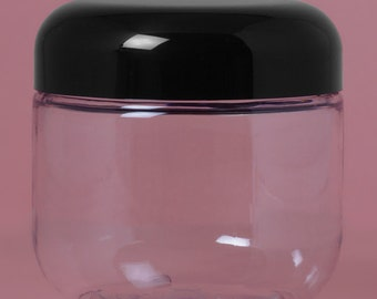 8 oz clear PET Plastic Cosmetic Jars choose 3, 6, or 12 jars and lids