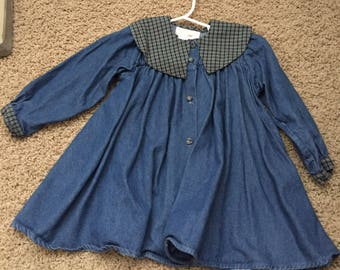 Vintage Christmas girls flannel & chambray dress size 2 t holiday, denim