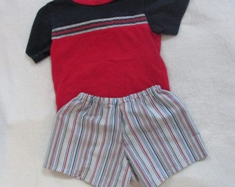 Eco-Friendly Summer 12 Month Boys vintage shirt with handmade coordinating shorts