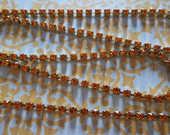 2mm strass Orange soleil Orange chaîne - cadre en laiton - cristaux tchèques Preciosa