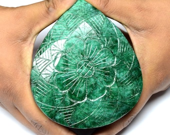 HUGE EMERALD Carving PEAR Shape Cut Faceted,780 Kg,  107X91X60mm Amazing Antic Emerald Gemstone