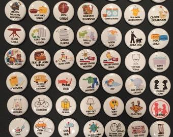 "Chore Responsibility Behavior Chart Magnets 1"" - Full set of 53 Magnets"