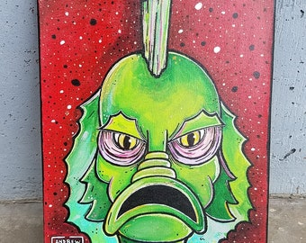 Swamp Thing, You Make My Heart Sing (Original Painting); Halloween artwork, spooky, creature, monster, trick or treat, All Hallows Eve, boo