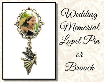 Memorial Lapel Pin With Fairy Angel Charm, Angel Wedding Brooch, Mother of the Bride, Boutonnière Pin, Antique Silver or Antique Brass
