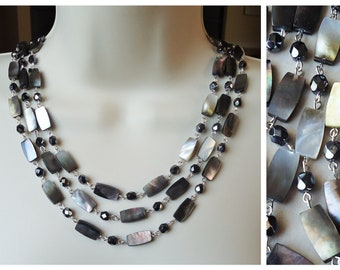Mother of Pearl Triple Strand Necklace.Black Crystals.Smoky.Silver.Statement.Bridal.Multi strand.Choker.Formal.Shell.chunky.gift.Handmade.