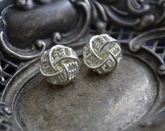 Vintage 1990s Silver Filigree Knot, Octagon, Track Design, Clip on Earrings