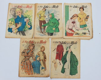 5 Le Petit Echo De la Mode French Fashion and Lifestyle   Magazines each one 32 pages ,1949, Art Deco