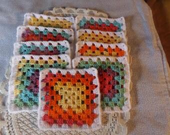 Granny squares, Afghan squares, set 0f 9, hand crochet squares, Crocheted motifs, handmade motifs, blanket squares, Afghan crochet,