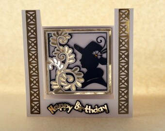 3D Silhouette Inverted Stepper Card, with gold deco border, and layered topper