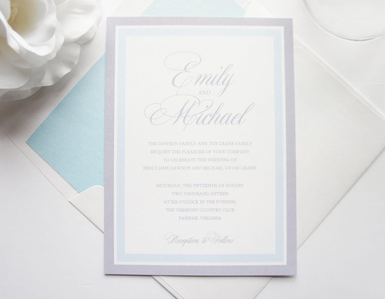 Light Blue Wedding Invitation Blue and Gray Wedding